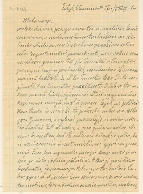 Vydūno laiškas dail. M. Lapinskaitei. 1940 m.