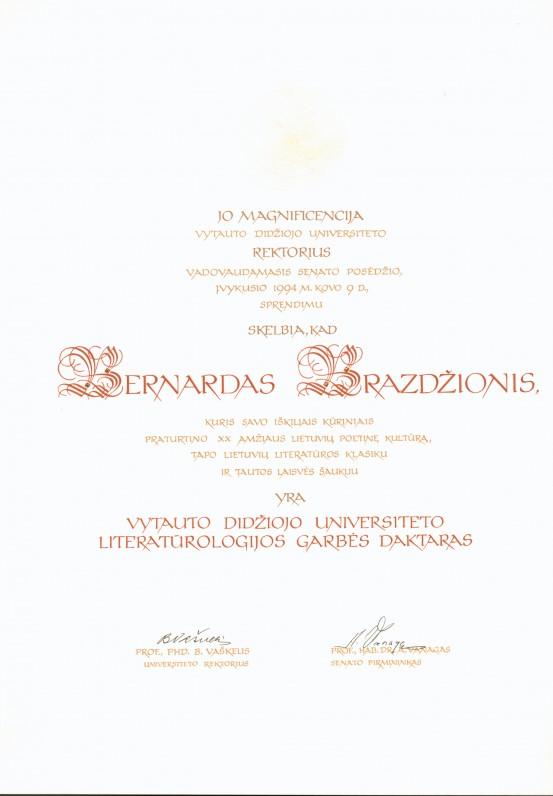 Vytauto Didžiojo universiteto literatūrologijos Garbės daktaro dokumentas. 1994 m.