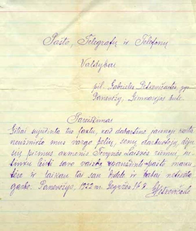 G. Petkevičaitės atsakymas Lietuvos Pašto, telegrafų ir telefonų valdybai. Panevėžys, 1922 m. gegužės 16 d.