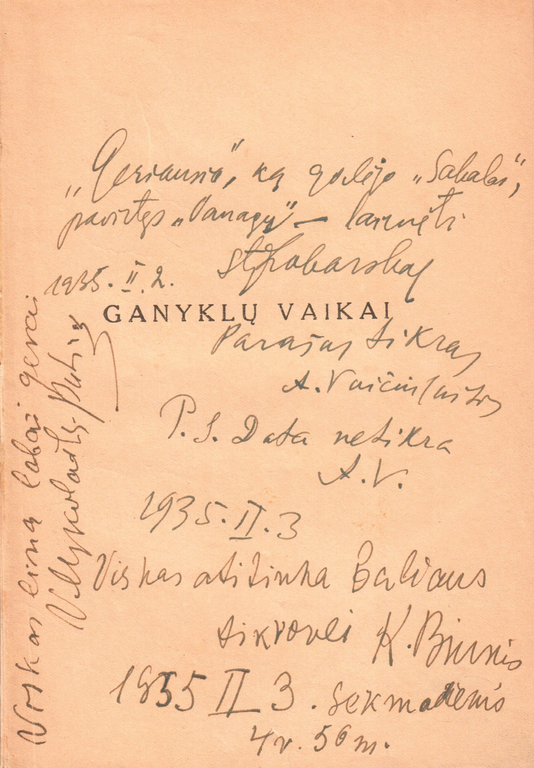 S. Zobarsko, A. Vaičiulaičio, V. Mykolaičio-Putino, K. Binkio autografai