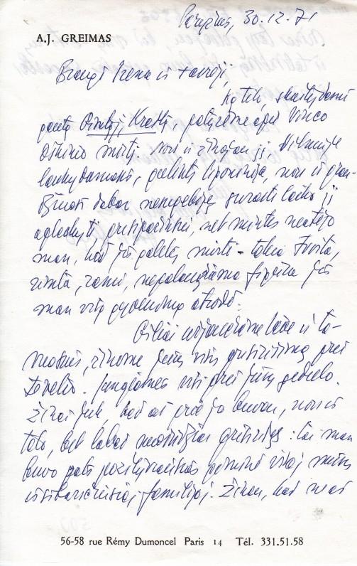 A. J. Greimo laiškas Irenai Oškinaitei-Būtėnienei