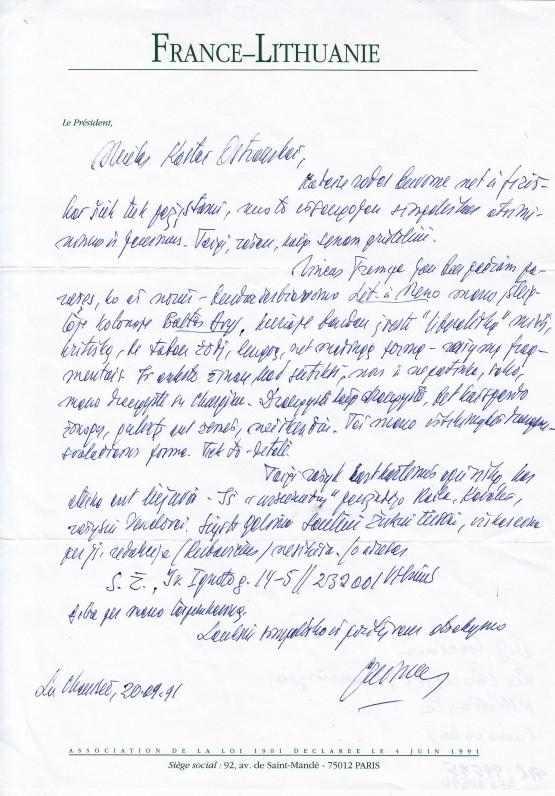 A. J. Greimo laiškas K. Ostrauskui