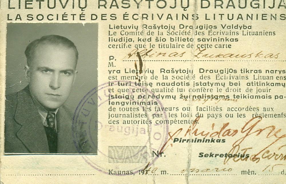A. Žukausko Lietuvių rašytojų draugijos nario pažymėjimas. Kaunas, 1940 02 15