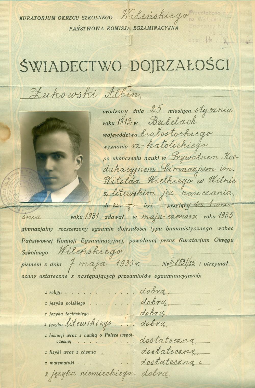 A. Žukausko Vilniaus Vytauto Didžiojo gimnazijos atestatas. Vilnius, 1935 05 07