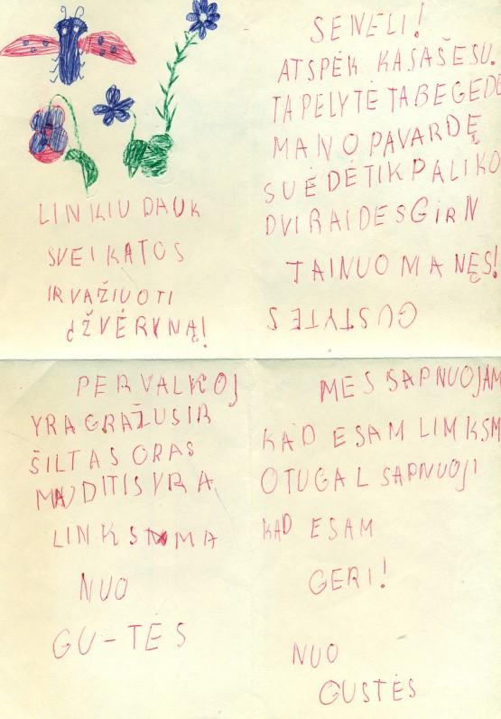 A. Žukausko anūkės Gustės Nogytės laiškas seneliui. Pervalka, 1987 06 23