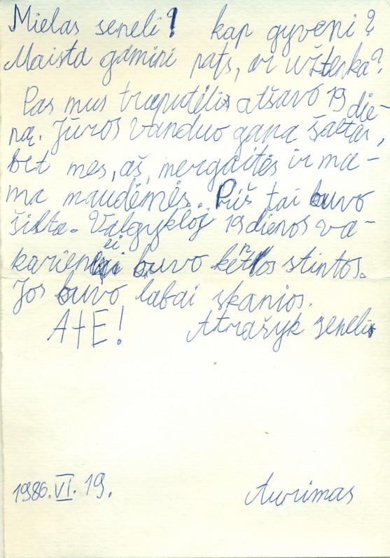 A. Žukausko anūko Aurimo Nogio laiškas seneliui. Pervalka, 1986 06 19