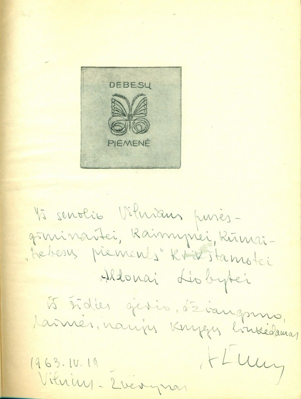 """A. Žukausko dedikacija A. Liobytei kn. """"Debesų piemenė"""". Vilnius, 1963 04 19"""