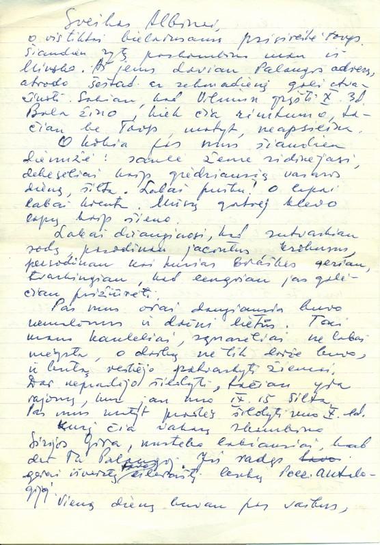 A. Žukausko žmonos Paulinos Žukauskienės laiškas vyrui. Vilnius, 1979 09 28