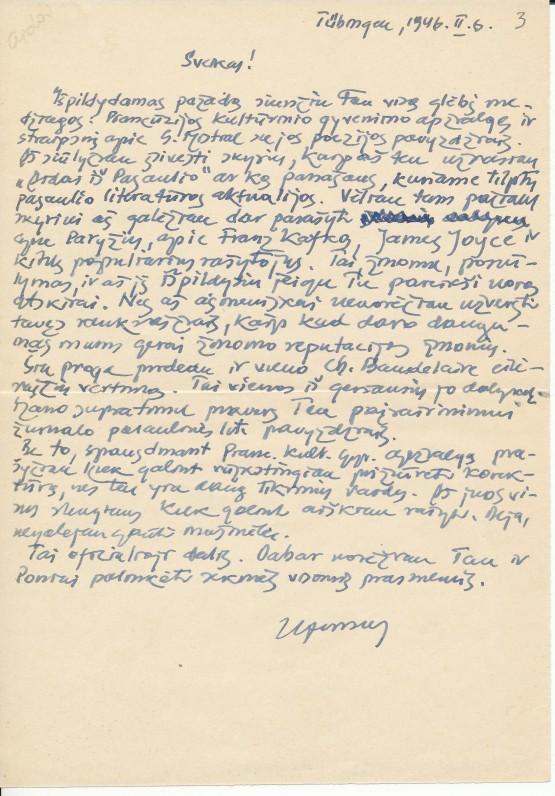 Alfonso Nykos-Niliūno laiškas K. Bradūnui