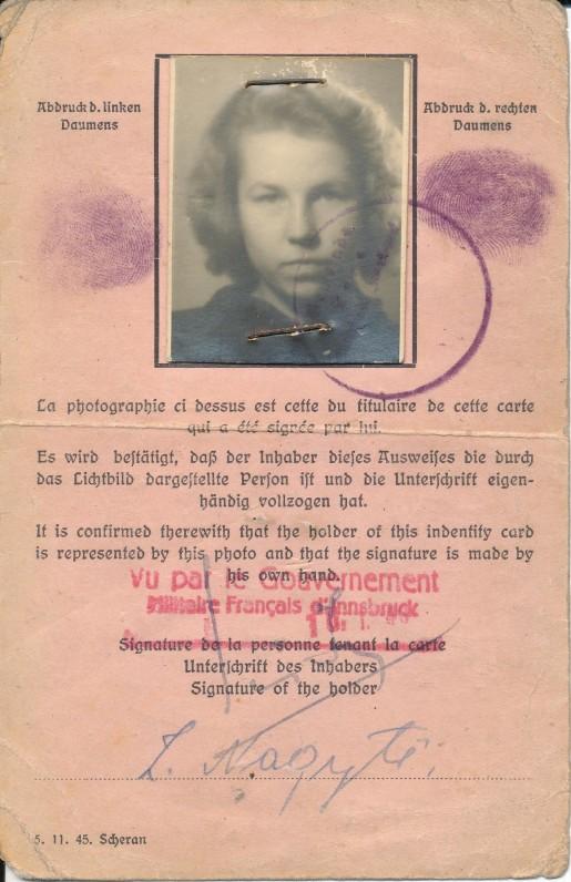Asmens tapatybės kortelė, išduota Z. Nagytei 1945 m. Vokietijoje