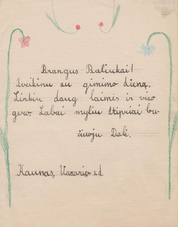Dukros Dalios sveikinimas B. Sruogai gimimo dienos proga. Kaunas, 1936 02 02