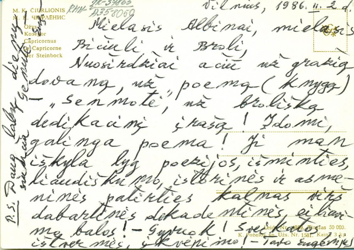 E. Matuzevičiaus laiškas A. Žukauskui. Vilnius, 1986 02 02
