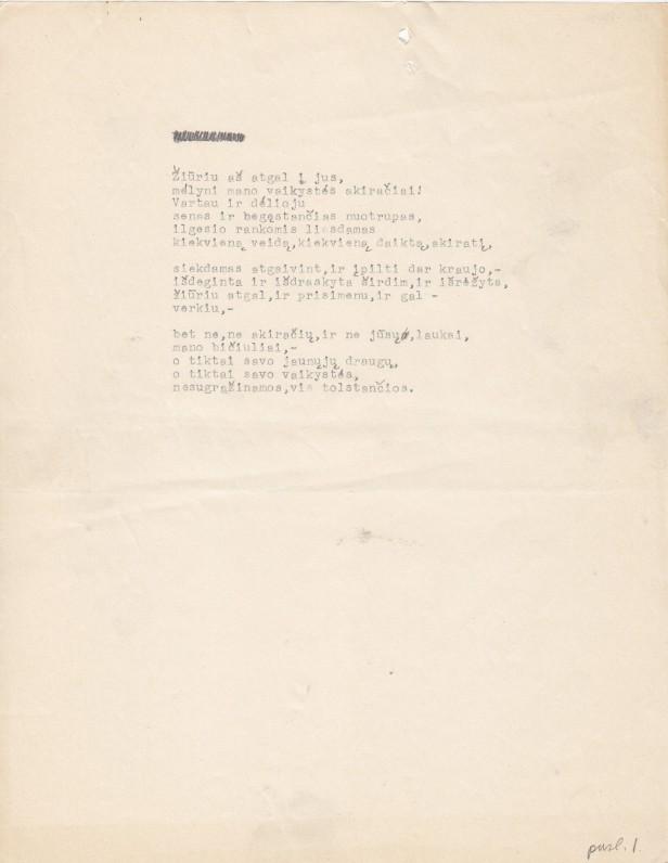 """Eilėraštis iš """"Semeniškių idilių"""". 1947 m."""
