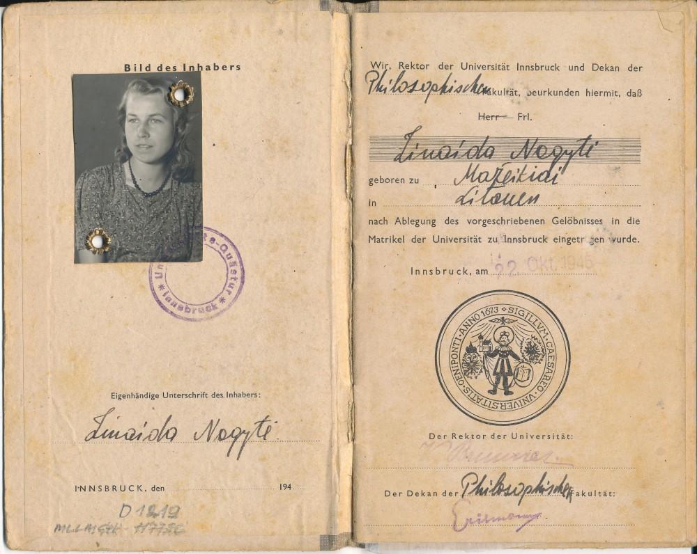 Freiburgo universiteto studijų knygelė, išduota Z. Nagytei