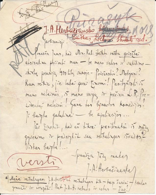 """J. A. Herbačiausko laiškas """"Lietuvos studento"""" redakcijai. Parengtas spaudai, bet uždraustas cenzūros. Kaunas, 1933 m."""