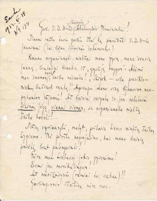 J. A. Herbačiausko laiškas VDU studentų atstovybei. Kaunas, 1933 m.