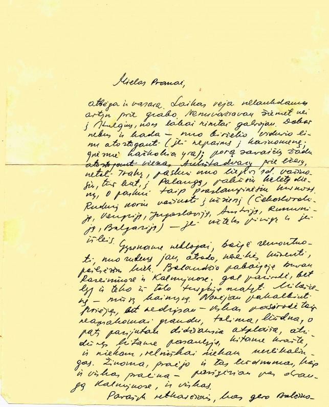 J. Apučio laiškas broliui Pranui. 1967 m. gegužės 30 d.
