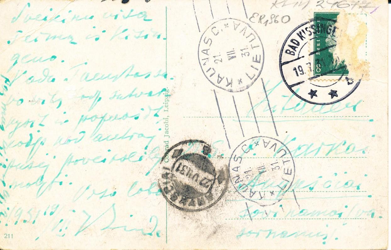 J. Lindės atvirlaiškis M. Karkai. 1931 m.