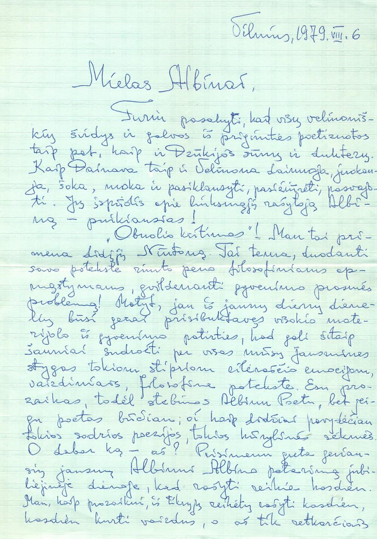 J. Mačiulio laiškas A. Žukauskui. Vilnius, 1979 08 06