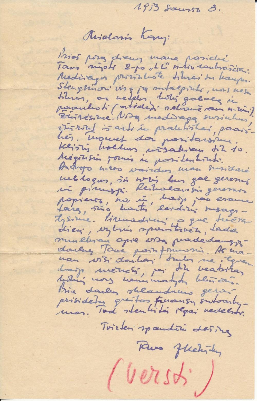 Juozo Kėkšto laiškas K. Bradūnui