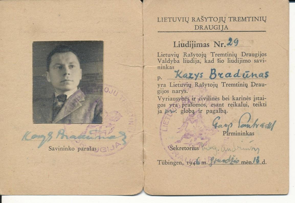 K. Bradūno Lietuvių rašytojų tremtinių draugijos nario liudijimas, išduotas Tiubingene 1946 12 13