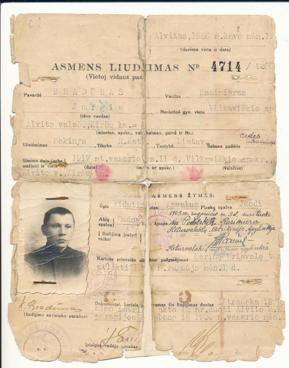 K. Bradūno asmens liudijimas, išduotas Alvite 1936 03 01
