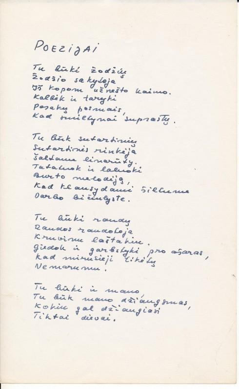 K. Bradūno eilėraštis. Poezijai