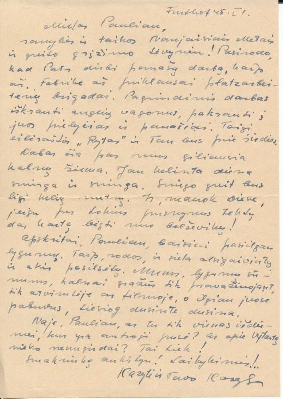 K. Bradūno laiškas Pauliui Jurkui
