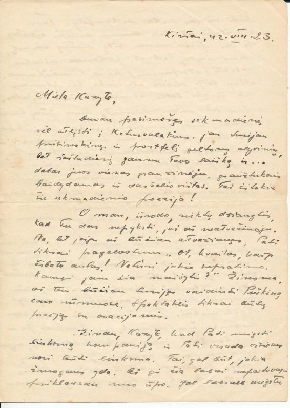 K. Bradūno laiškas būsimai žmonai Kazimierai Podolskytei