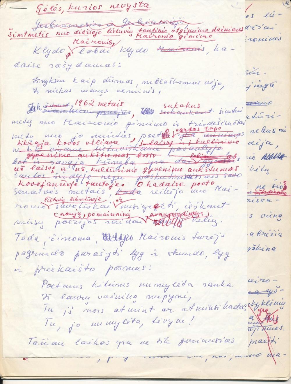 K. Bradūno paskaitos apie Maironį rankraštis