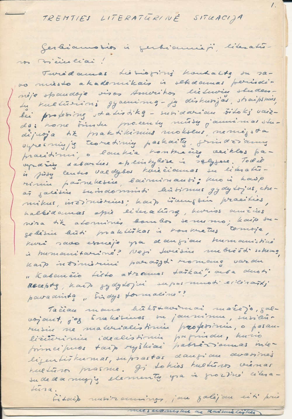 K. Bradūno paskaitos rankraštis