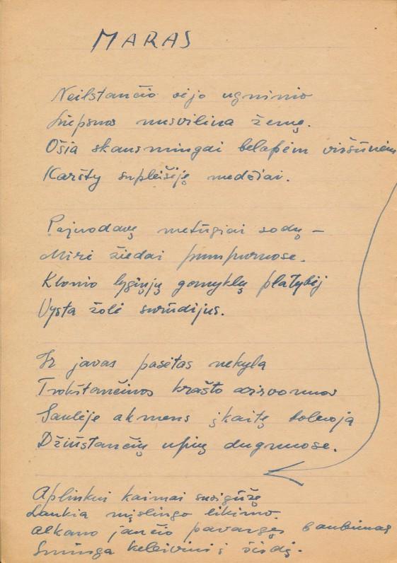 K. Bradūno rankraštis, 2