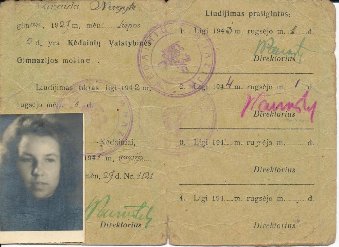 Kėdainių valstybės gimnazijos pažymėjimas, išduotas mokinei Z. Nagytei. 1944 m.