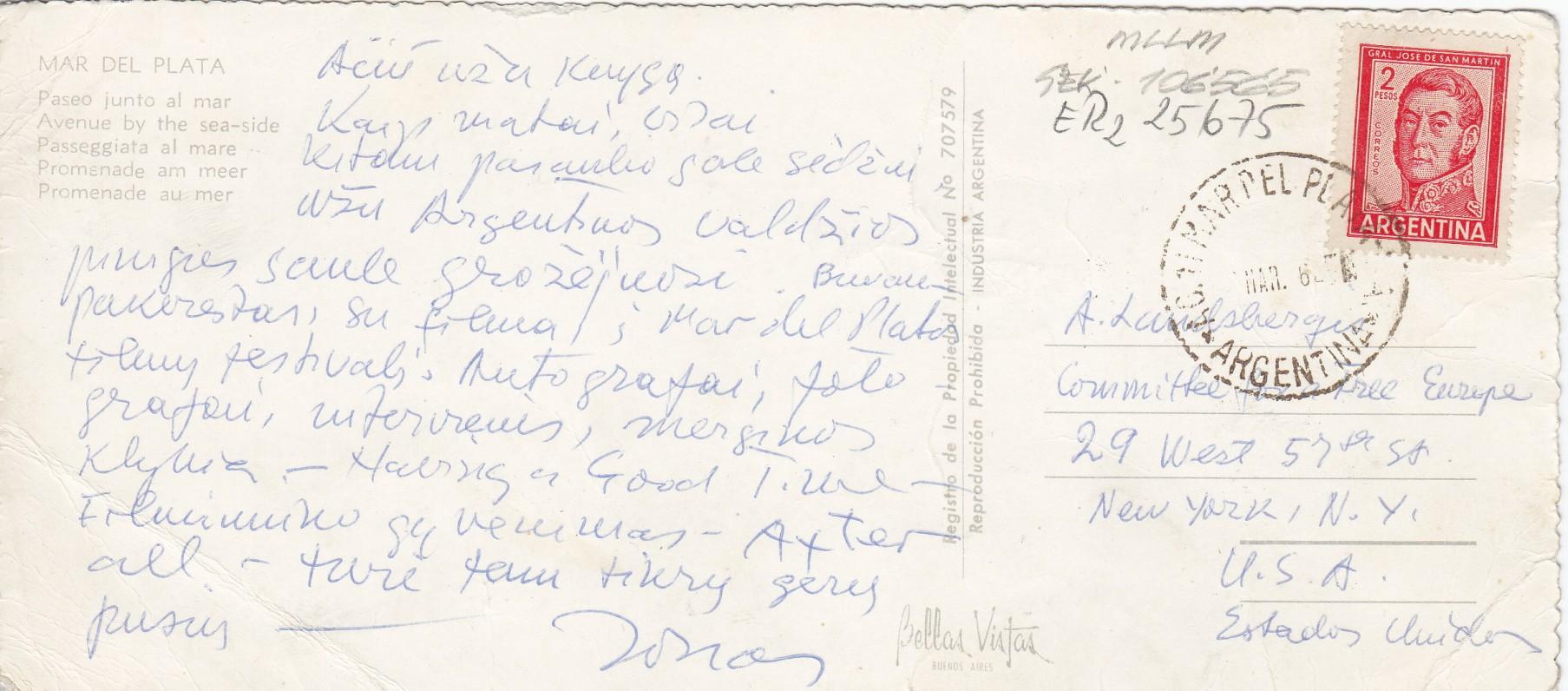 Laiškas A. Landsbergiui. 1972 03 06