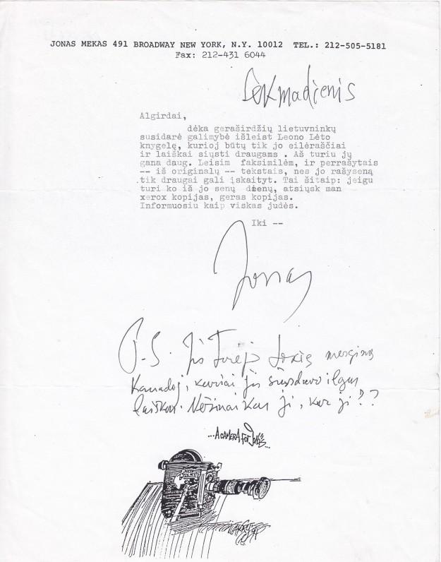 Laiškas A. Landsbergiui. Apie 1980 m.