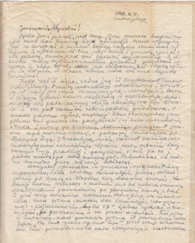 Laiškas bičiuliui A. Landsbergiui. Ludwigsburg, 1949 10 04–05