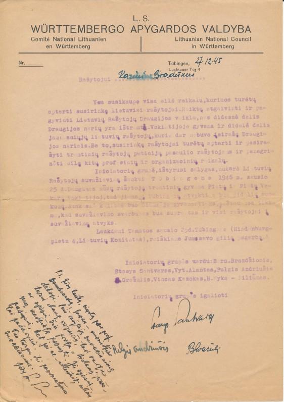 Lietuvių rašytojų draugijos tremtyje (LRTD) kvietimas K. Bradūnui