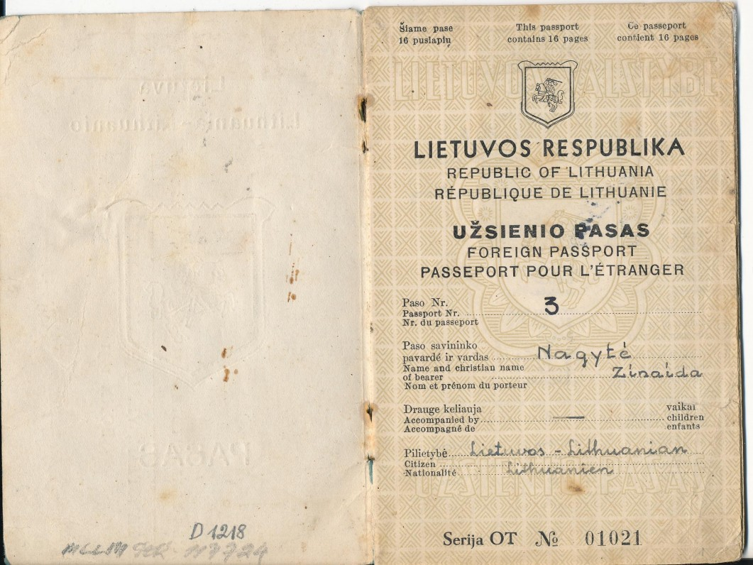 Lietuvos respublikos Užsienio pasas, išduotas Z. Nagytei 1945 05 17 Vokietijoje