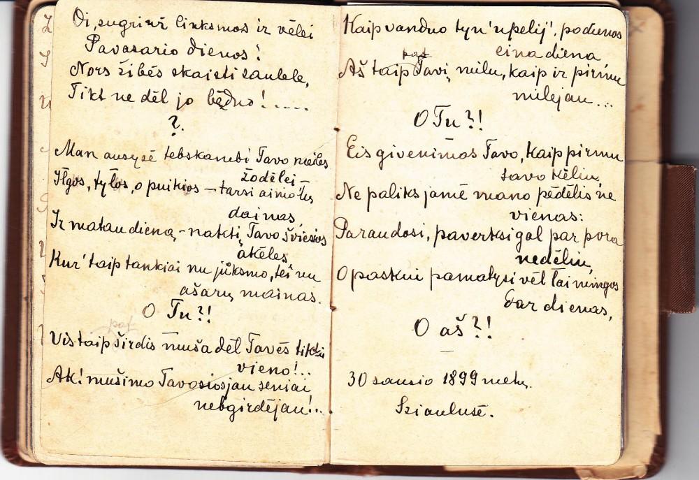 M. Pečkauskaitės eilėraštis užrašų knygutėje