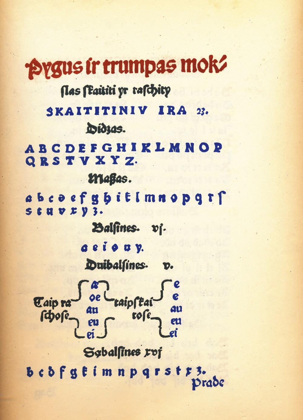 """Mažvydo parengto elementoriaus pradžia faksimiliniame """"Katekizmo"""" 1947 m. leidime"""
