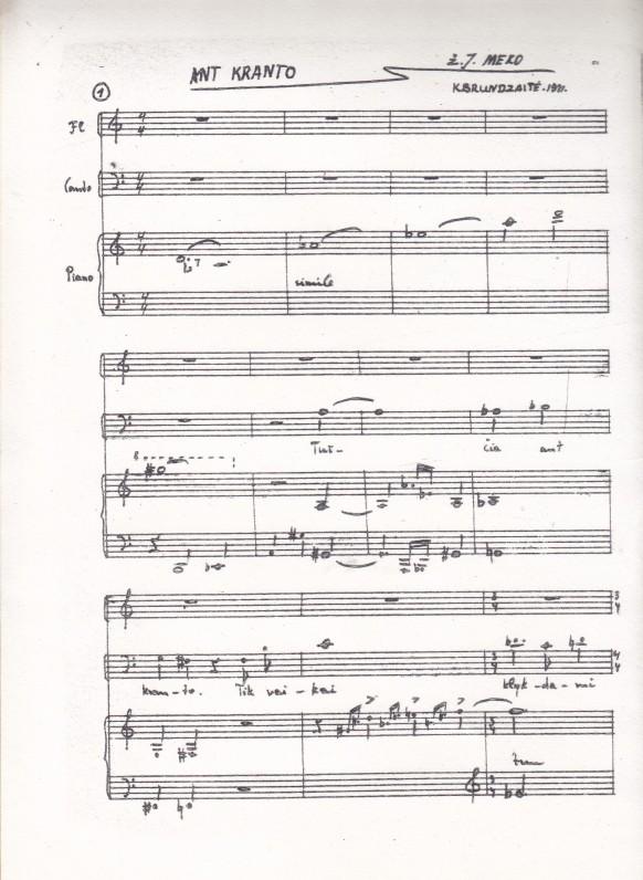 Muzika J. Meko žodžiams. Autorė K. Brundzaitė, 1971 m.