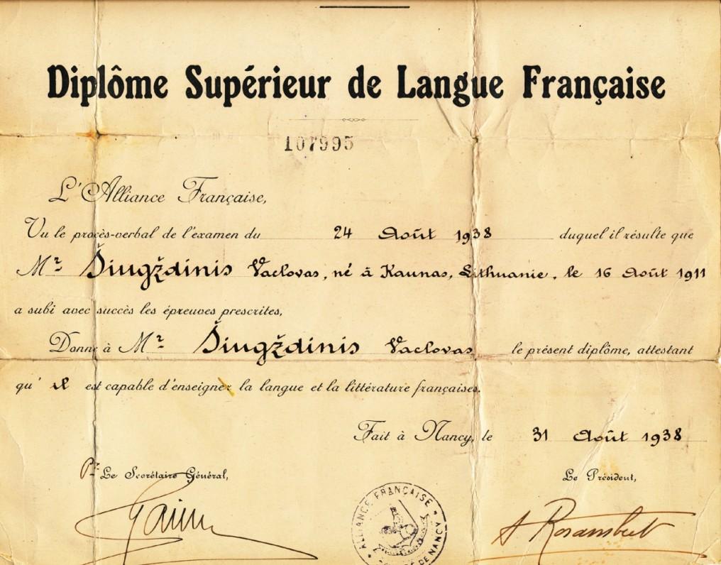 Nancy universiteto prancūzų kalbos diplomas, išduotas Vaclovui Šiugždiniui 1938 m.