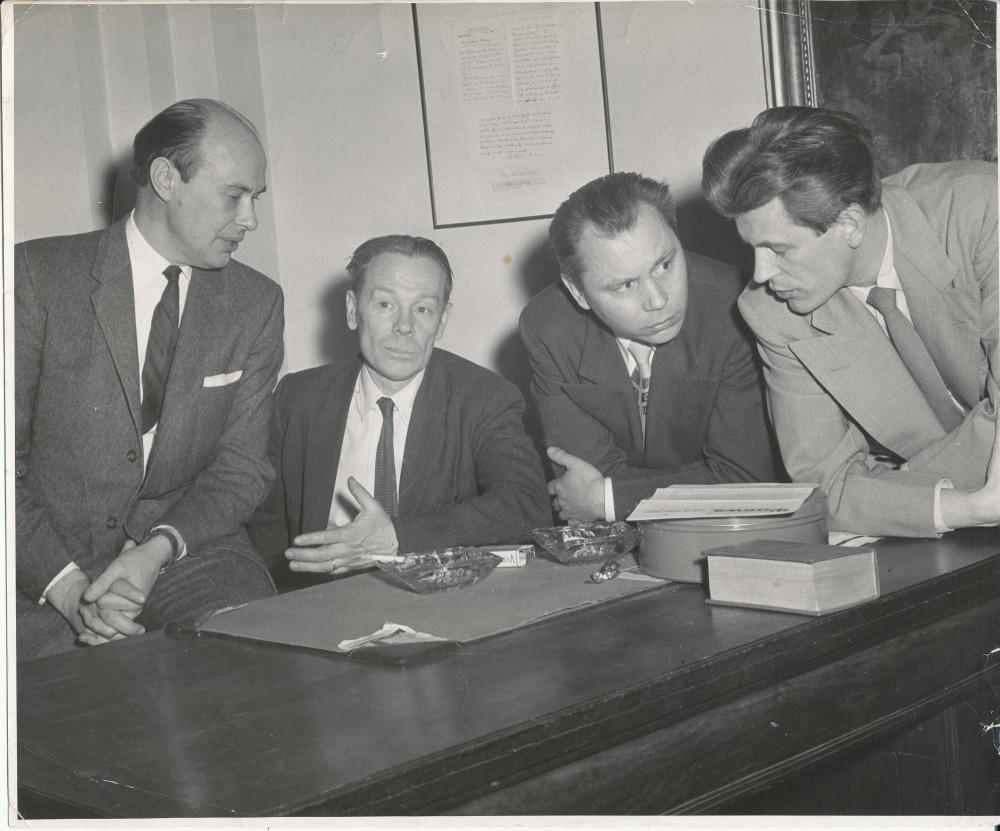 P. Jurkus, J. Aistis, K. Bradūnas, K. Ostrauskas. Baltimorė. 1955 m. V. Maželio nuotrauka