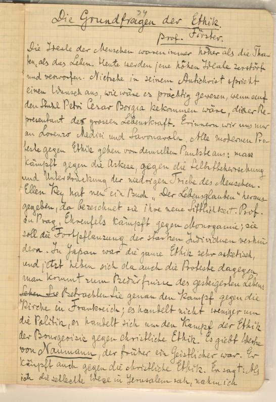 Pečkauskaitės paskaitų (laisvąja klausytoja studijavo Ciuricho ir Friburgo universitetuose) rankraštis vokiečių k.