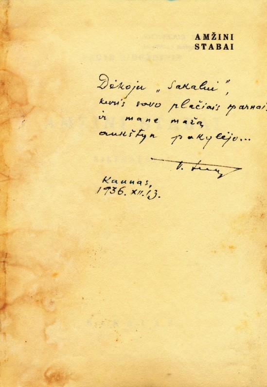 """Pirmoji eilėraščių knyga, išleista """"Sakalo"""" leidykloje. 1936 m., dedikacija"""