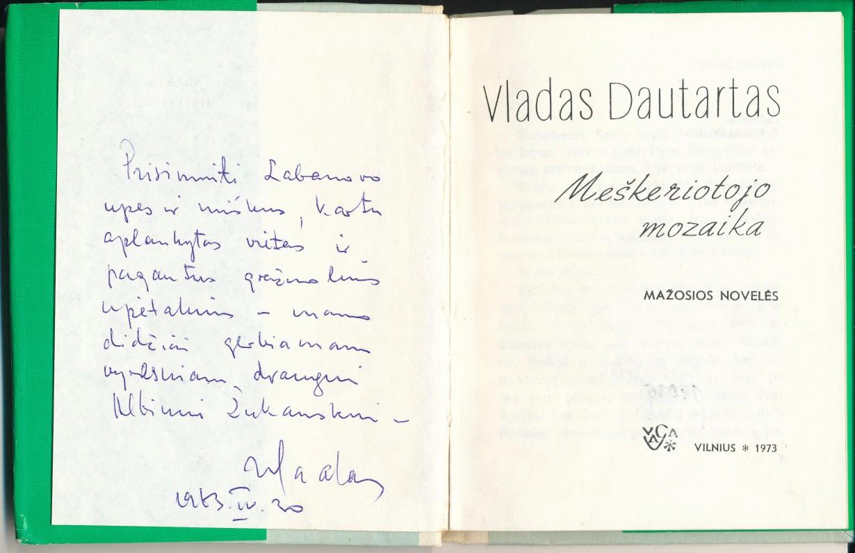 Su autoriaus autografu A. Žukauskui