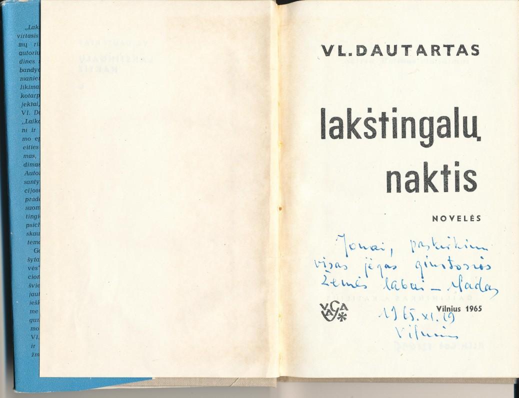 Su autoriaus autografu J. Mikelinskui