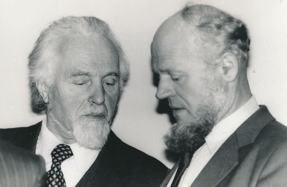 Su rašytoju Jonu Mikelinsku. 1987 m. O. Pajedaitės nuotrauka