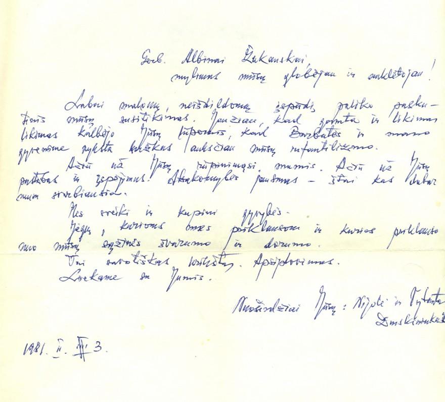 V. Bložės laiškas A. Žukauskui. Druskininkai, 1981 02 03