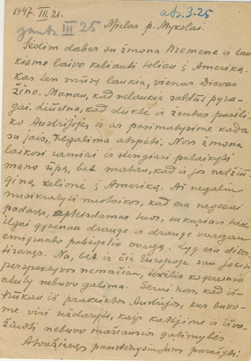 V. Krėvės atvirlaiškis M. Biržiškai. 1947 m. rugpjūčio 24 d., 2